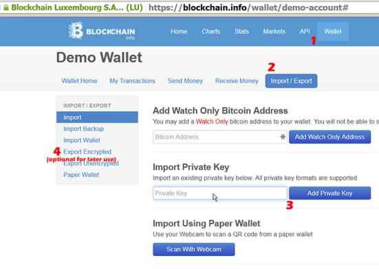 How to import private key from Counterwallet to another wallet